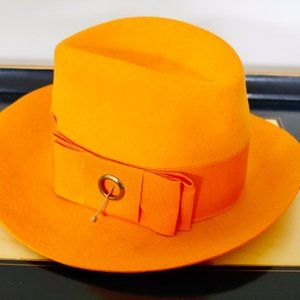 Vintage Orange Tribly Fedora Wide Brim Hat Small